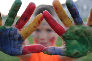 messy hands with paint